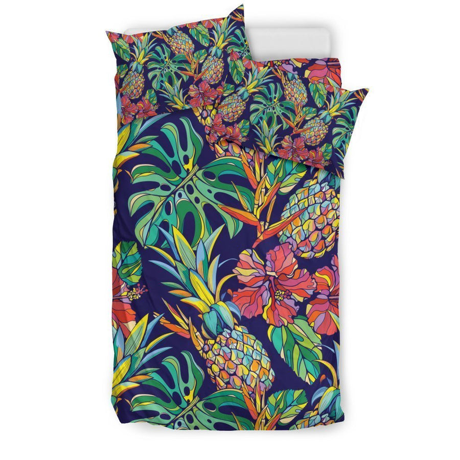 Colorful Aloha Pineapple Pattern Print Duvet Cover Bedding Set GearFrost