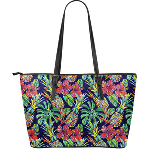 Colorful Aloha Pineapple Pattern Print Leather Tote Bag GearFrost