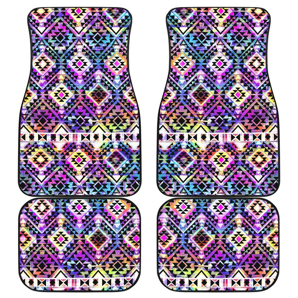 f0ba01dc3 Colorful Aztec Pattern Print Front and Back Car Floor Mats – GearFrost