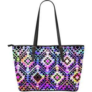 Colorful Aztec Pattern Print Leather Tote Bag GearFrost