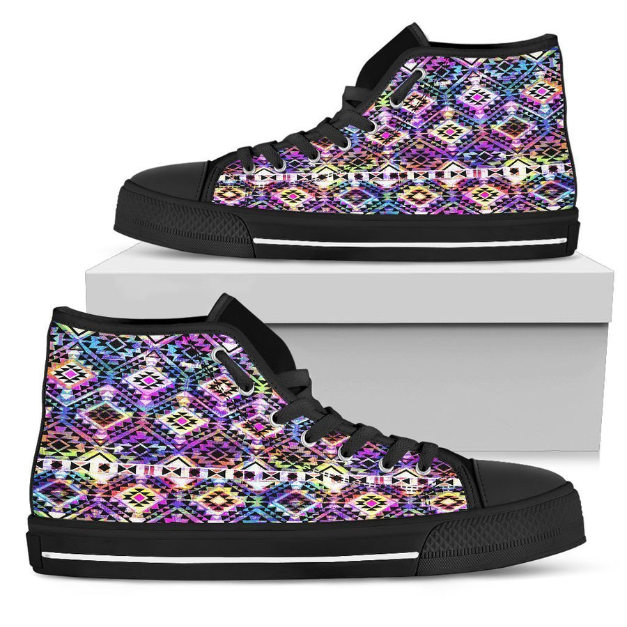 Colorful Aztec Pattern Print Women's High Top Shoes GearFrost