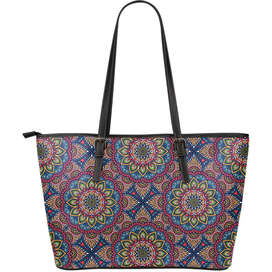 Colorful Bohemian Mandala Pattern Print Leather Tote Bag GearFrost