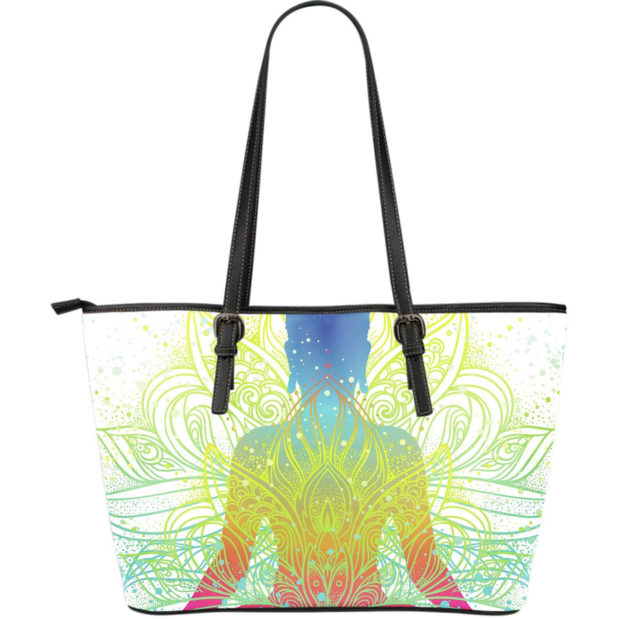 Colorful Buddha Lotus Print Leather Tote Bag GearFrost
