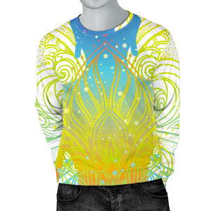 Colorful Buddha Lotus Print Men's Crewneck Sweatshirt GearFrost