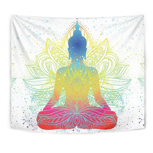 Colorful Buddha Lotus Print Wall Tapestry GearFrost