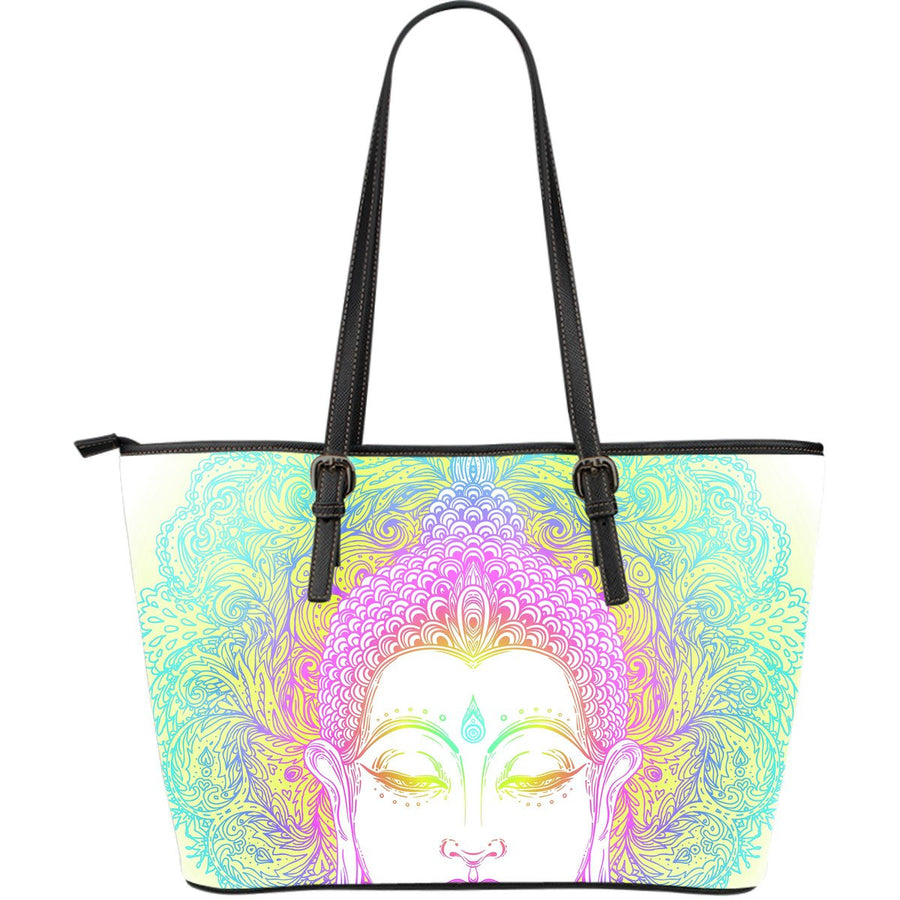 Colorful Buddha Mandala Print Leather Tote Bag GearFrost