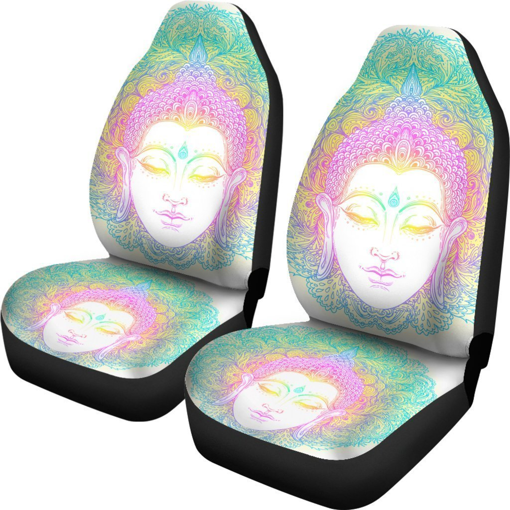 Colorful Buddha Mandala Print Universal Fit Car Seat Covers GearFrost