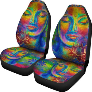 Colorful Buddha Print Universal Fit Car Seat Covers GearFrost
