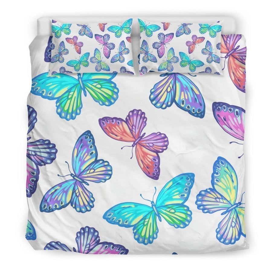 Colorful Butterfly Pattern Print Duvet Cover Bedding Set GearFrost