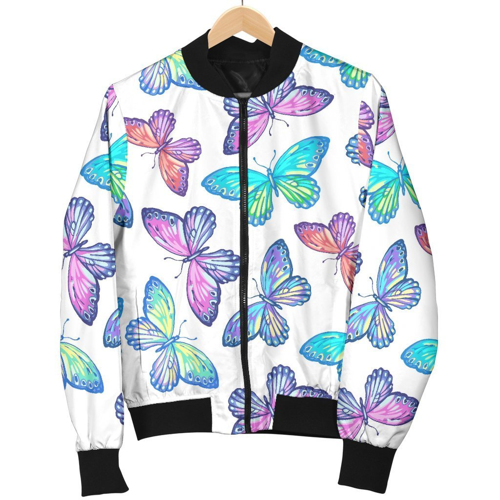 Colorful Butterfly Pattern Print Men's Bomber Jacket GearFrost