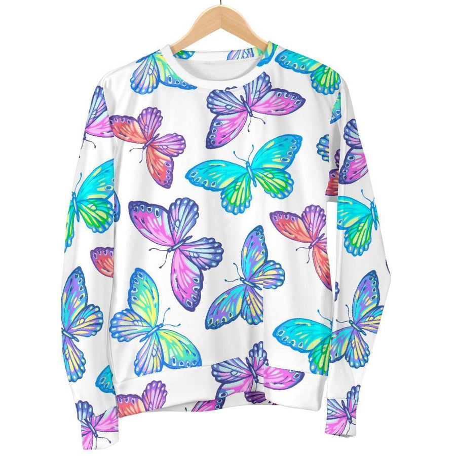 Colorful Butterfly Pattern Print Women's Crewneck Sweatshirt GearFrost