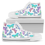 Colorful Butterfly Pattern Print Women's High Top Shoes GearFrost