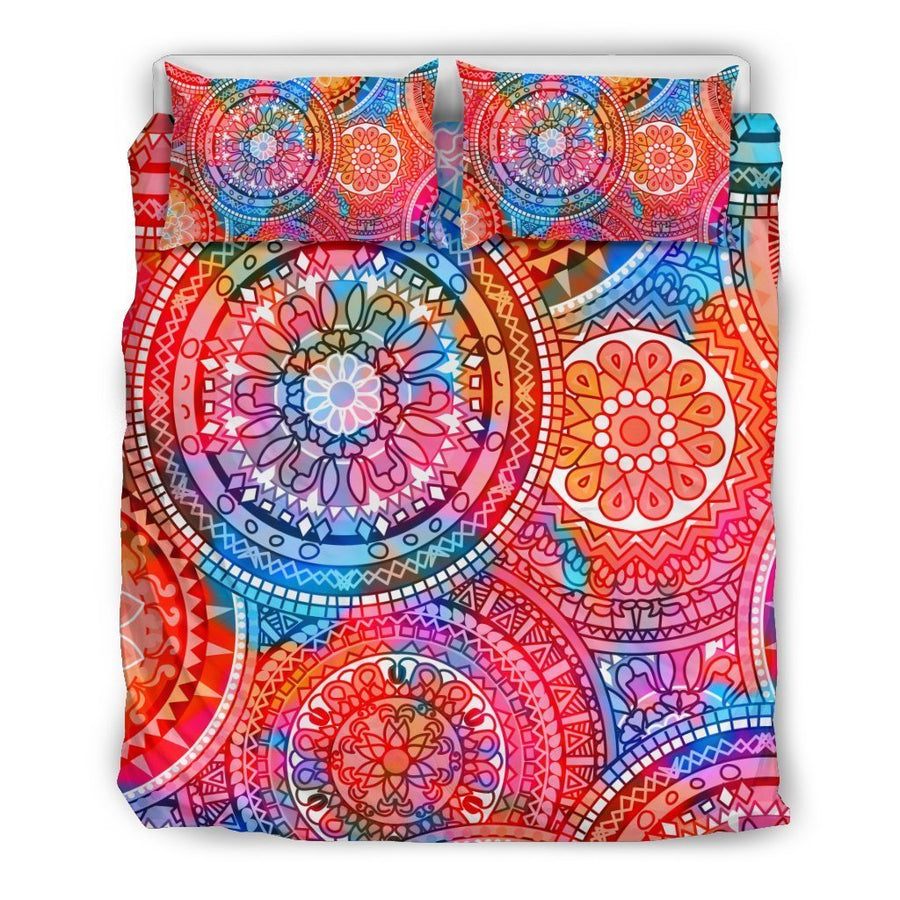 Colorful Circle Mandala Print Duvet Cover Bedding Set GearFrost