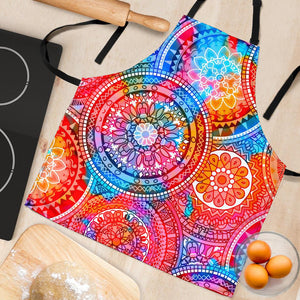 Colorful Circle Mandala Print Women's Apron GearFrost