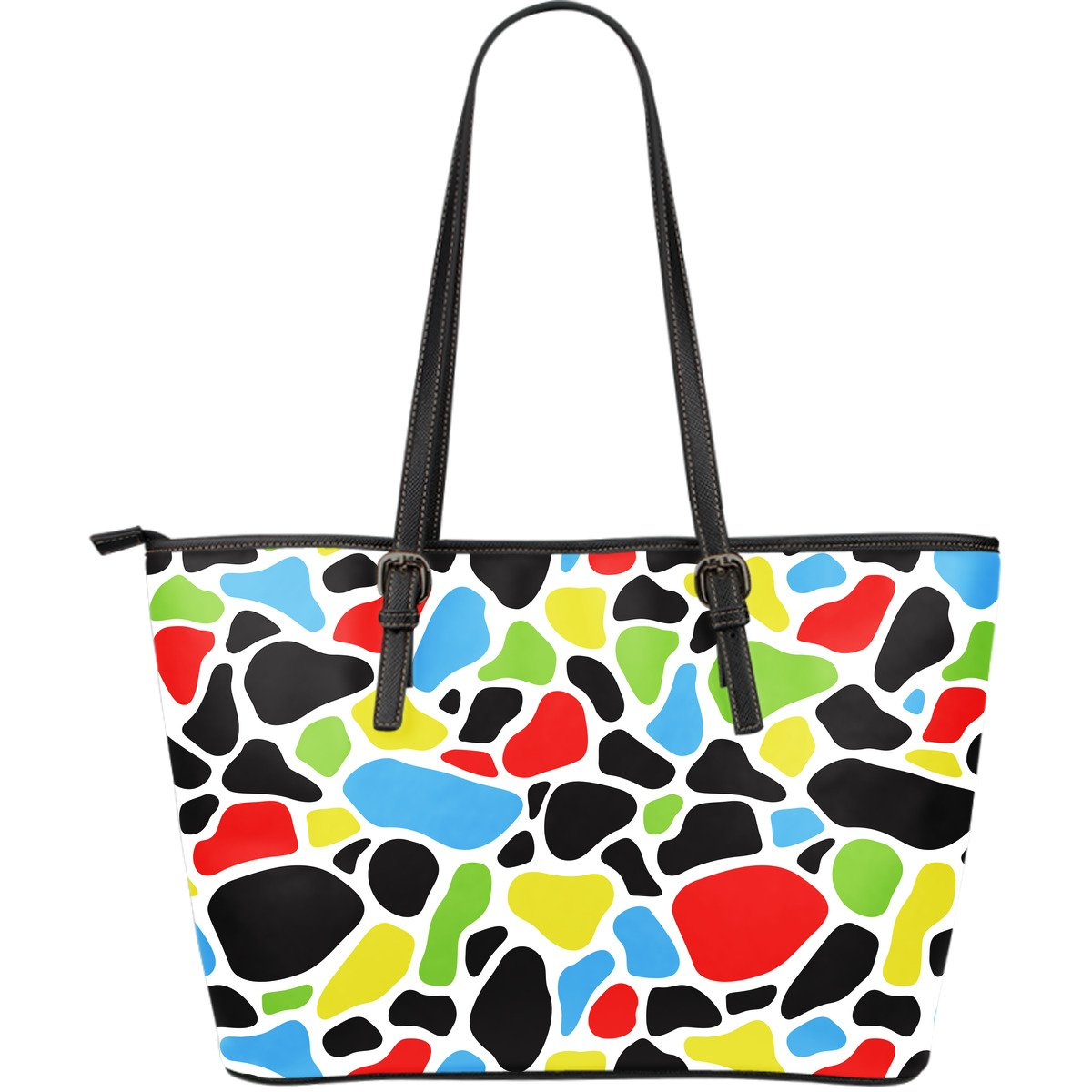 Colorful Cow Print Leather Tote Bag GearFrost