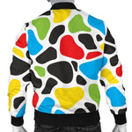 Colorful Cow Print Men's Bomber Jacket GearFrost