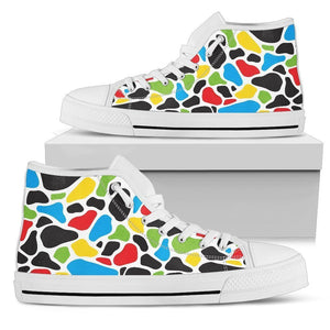 Colorful Cow Print Men's High Top Shoes GearFrost
