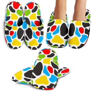 Colorful Cow Print Slippers GearFrost