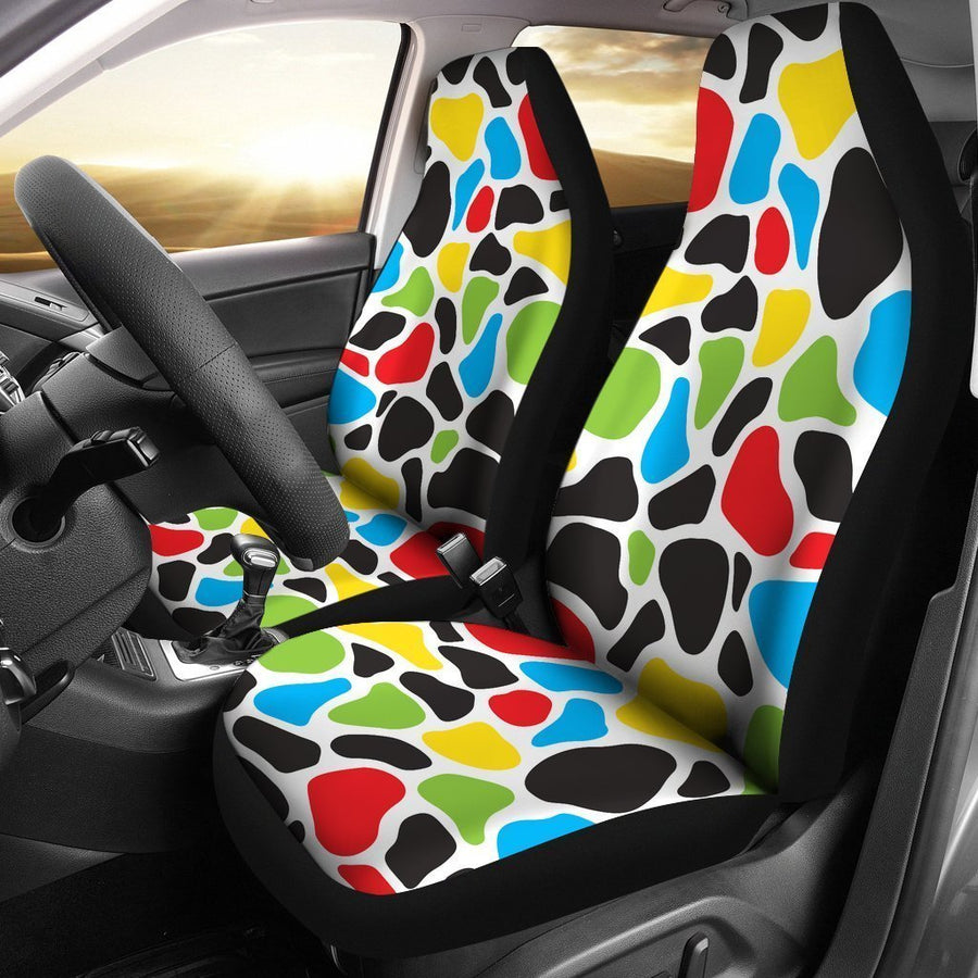 Colorful Cow Print Universal Fit Car Seat Covers GearFrost