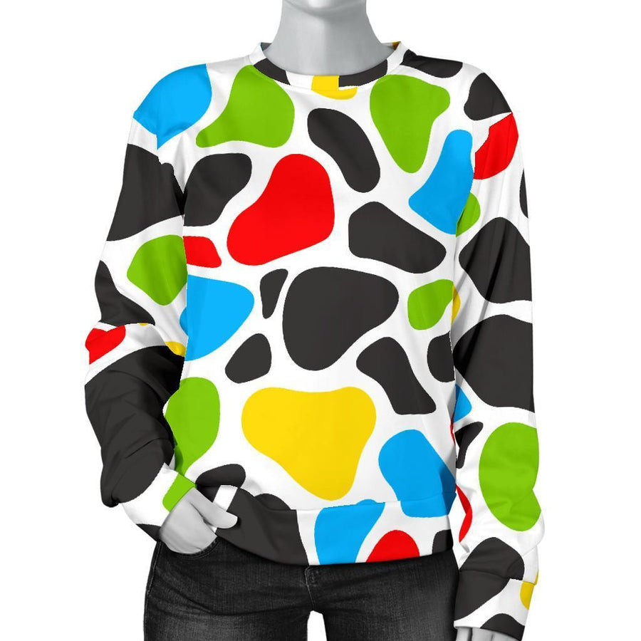 Colorful Cow Print Women's Crewneck Sweatshirt GearFrost