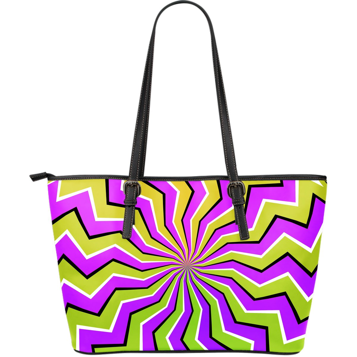Colorful Dizzy Moving Optical Illusion Leather Tote Bag GearFrost
