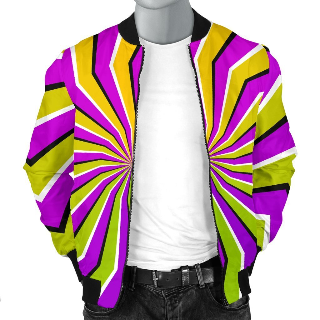 Colorful Dizzy Moving Optical Illusion Men's Bomber Jacket GearFrost
