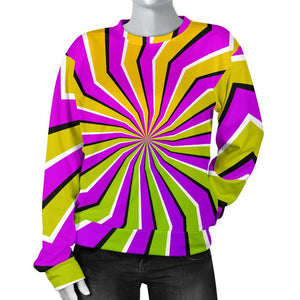 Colorful Dizzy Moving Optical Illusion Women's Crewneck Sweatshirt GearFrost