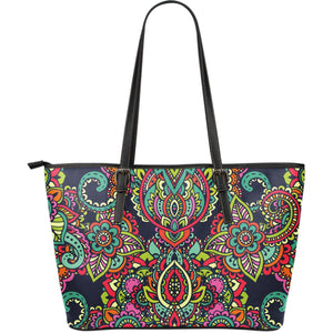 Colorful Floral Mandala Print Leather Tote Bag GearFrost