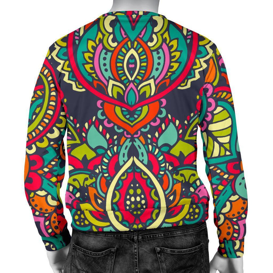 Colorful Floral Mandala Print Men's Crewneck Sweatshirt GearFrost