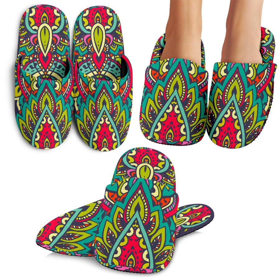 Colorful Floral Mandala Print Slippers GearFrost