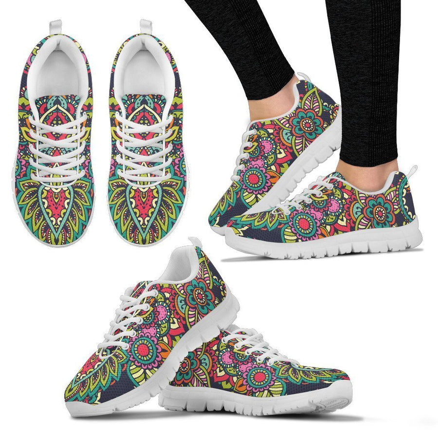 Colorful Floral Mandala Print Women's Sneakers GearFrost