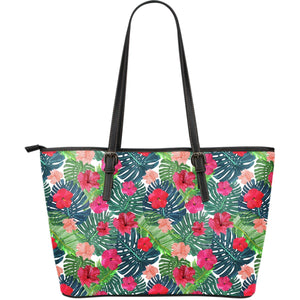 Colorful Hawaii Floral Pattern Print Leather Tote Bag GearFrost