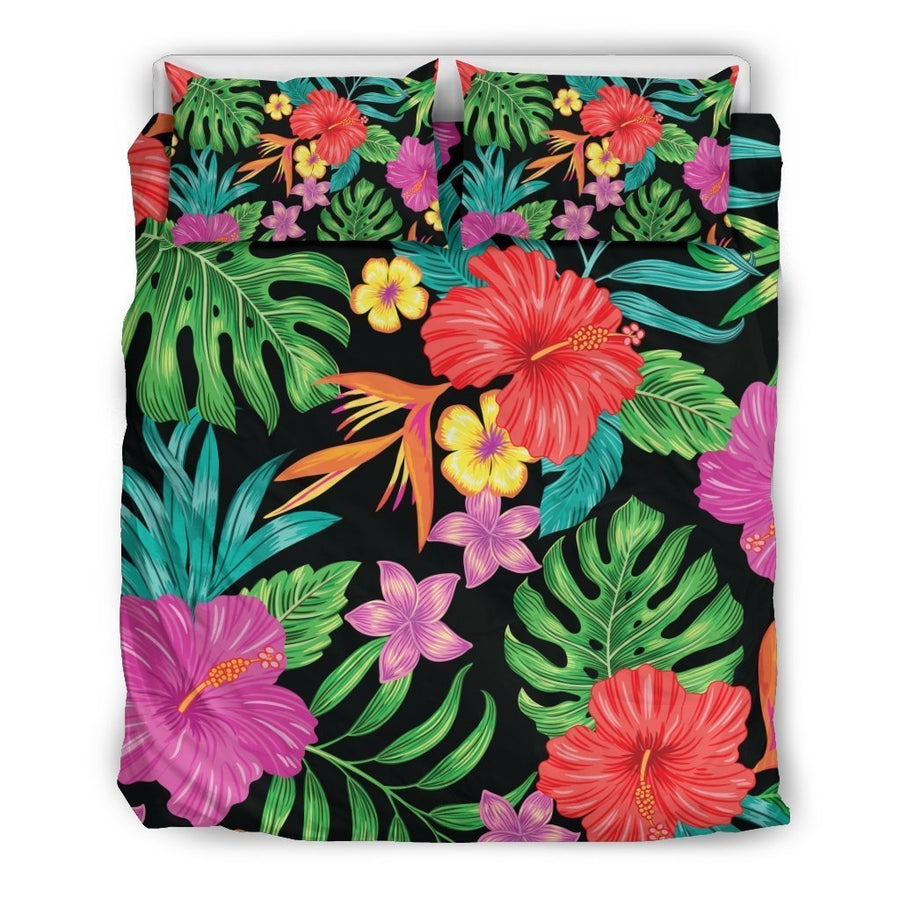 Colorful Hibiscus Flowers Pattern Print Duvet Cover Bedding Set GearFrost