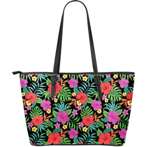 Colorful Hibiscus Flowers Pattern Print Leather Tote Bag GearFrost