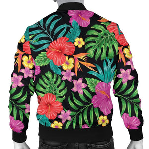 Colorful Hibiscus Flowers Pattern Print Men's Bomber Jacket GearFrost