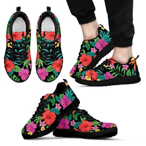 Colorful Hibiscus Flowers Pattern Print Men's Sneakers GearFrost