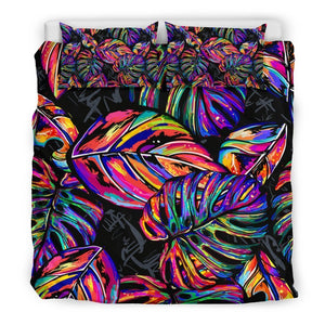 Colorful Leaf Tropical Pattern Print Duvet Cover Bedding Set GearFrost