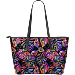 Colorful Leaf Tropical Pattern Print Leather Tote Bag GearFrost