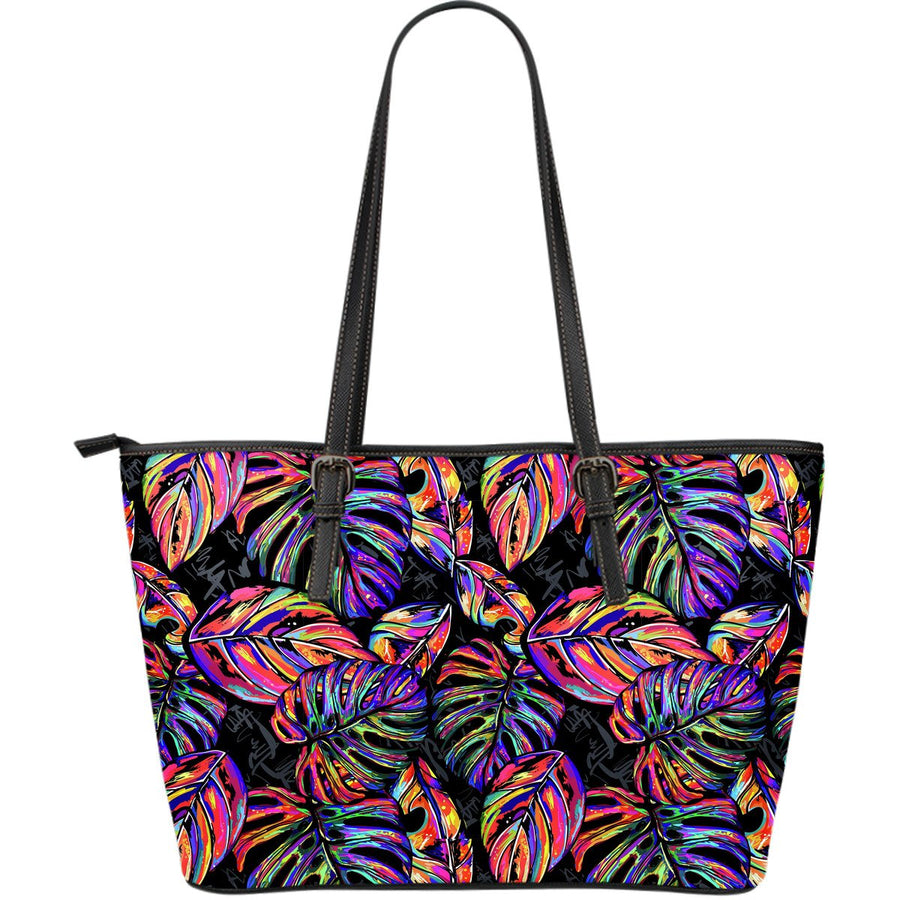 Colorful Leaf Tropical Pattern Print Leather Tote Bag