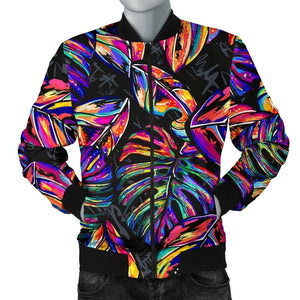 Colorful Leaf Tropical Pattern Print Men's Bomber Jacket GearFrost