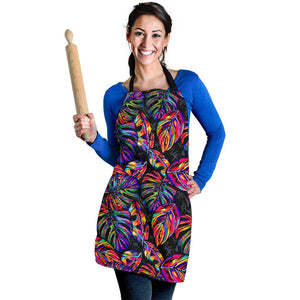 Colorful Leaf Tropical Pattern Print Women's Apron GearFrost
