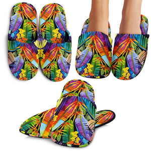 Colorful Leaves Tropical Pattern Print Slippers GearFrost