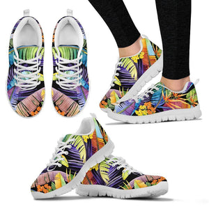 Colorful Leaves Tropical Pattern Print Women's Sneakers GearFrost