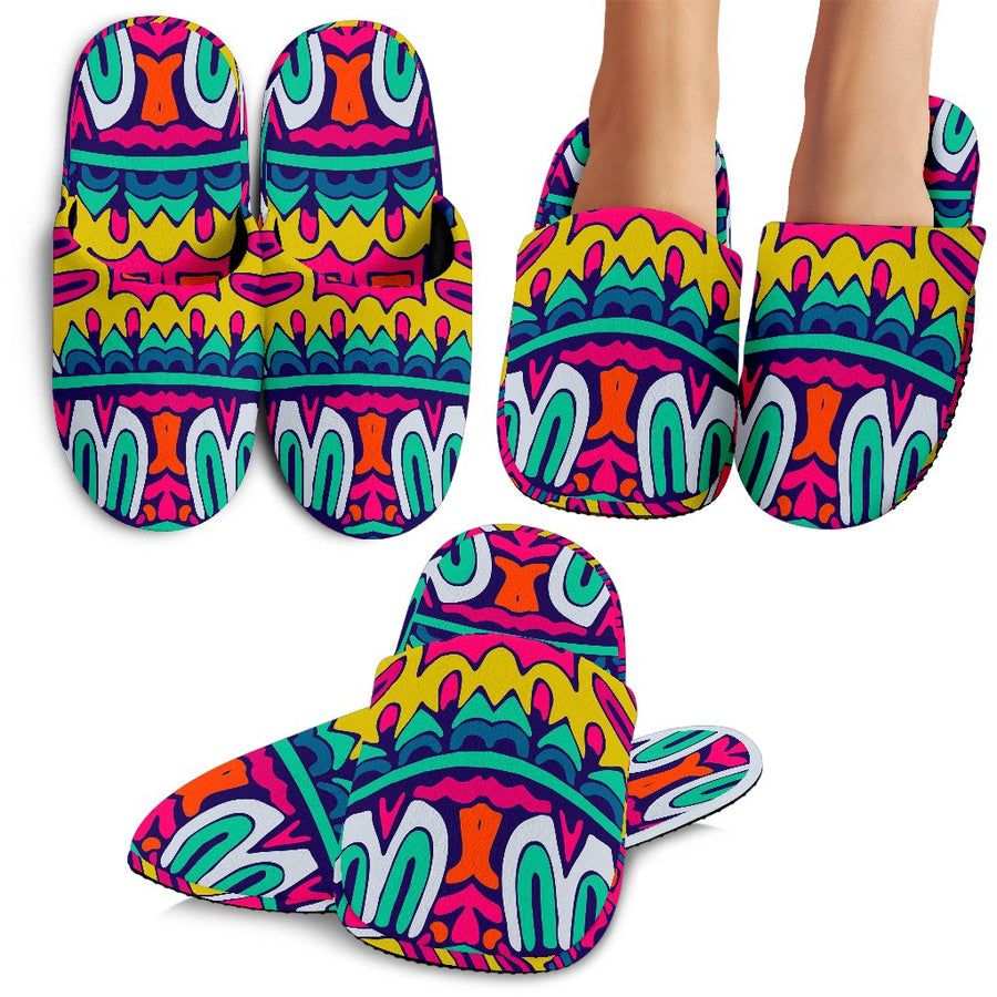 Colorful Mandala Bohemian Pattern Print Slippers GearFrost