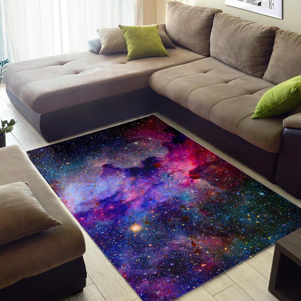 Colorful Nebula Galaxy Space Print Area Rug GearFrost