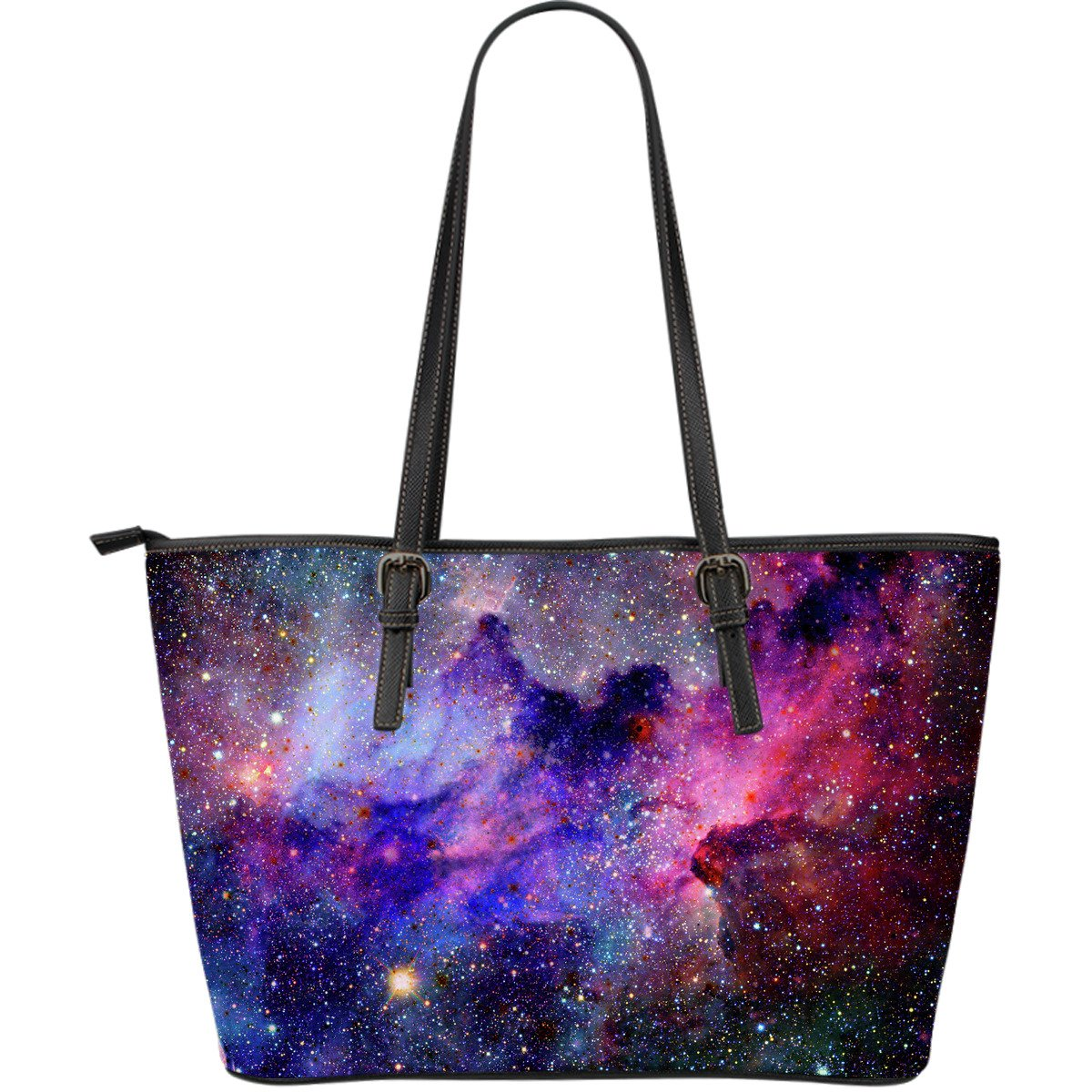 Colorful Nebula Galaxy Space Print Leather Tote Bag GearFrost