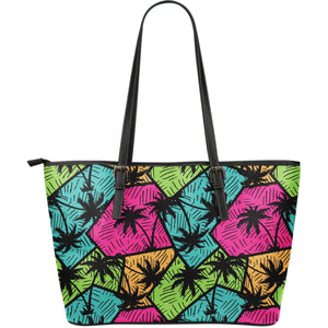 Colorful Palm Tree Pattern Print Leather Tote Bag GearFrost