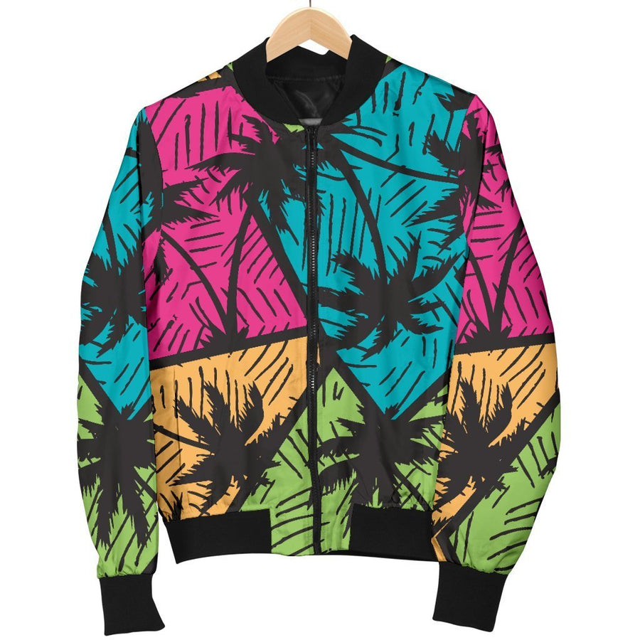 Colorful Palm Tree Pattern Print Men's Bomber Jacket GearFrost