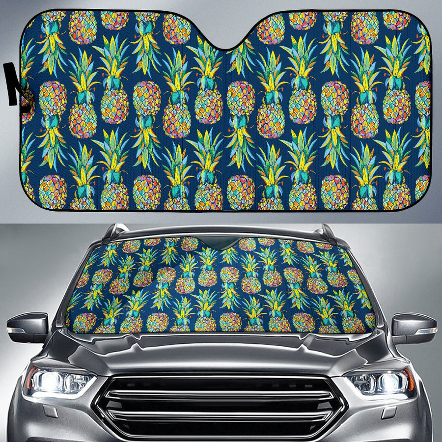 Colorful Pineapple Pattern Print Car Sun Shade GearFrost
