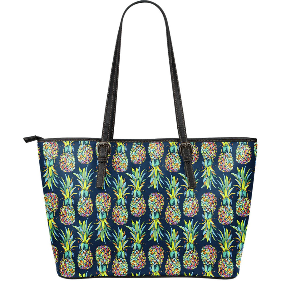 Colorful Pineapple Pattern Print Leather Tote Bag GearFrost
